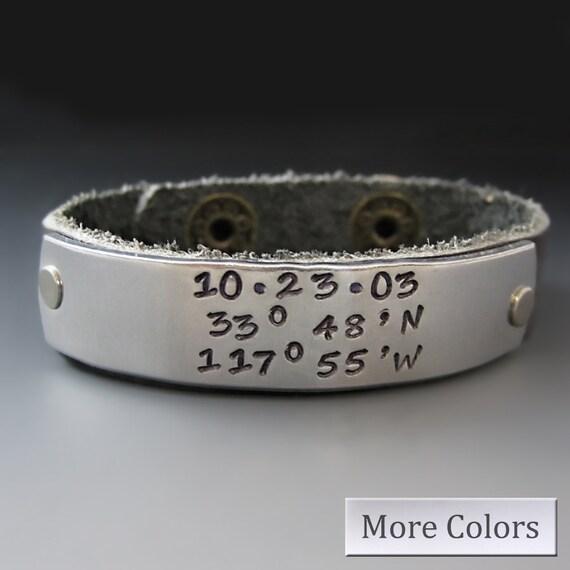 custom longitude and latitude leather cuff bracelet
