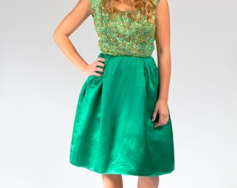 Green party dress beaded with satin skirt size XS