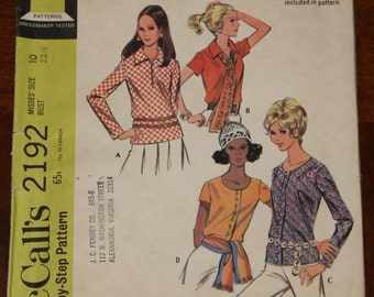 McCall 2192 1960s 60s Blouse Top Shirt  Vintage Sewing Pattern Size 12 Bust 32.5