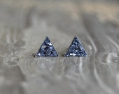 Crushed Crystal Druzy Sterling Silver Mini Triangle Earring Studs
