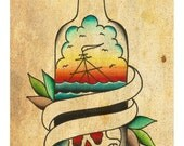 "Customizable banner Sailor Jerry Sinking ship in a bottle repaint 5x7"" art Print"