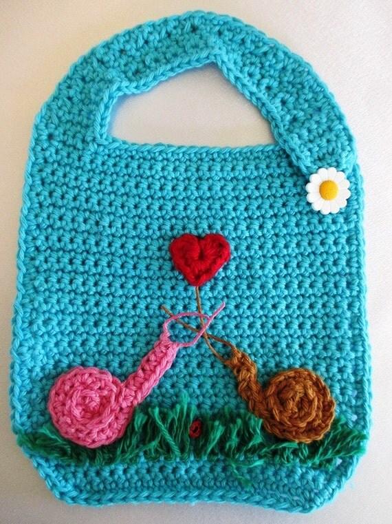 Crochet Cotton Baby Bib Pattern : Cotton Crocheted Snail Baby Bib