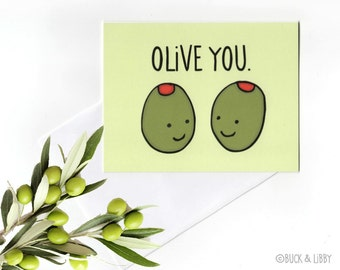 Olive You Pun Valentine's Day love Card with Envelope Blank inside