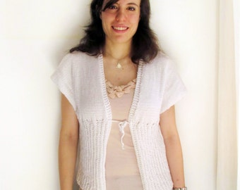 White summer sweater with drawstring, handknit, size S