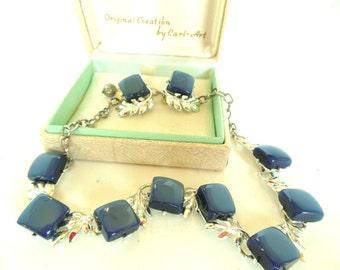 Vintage Thermoset Demi Parure Blue Silver Clip Earrings Necklace Choker 50's (item 12)