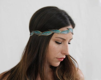 Turquoise Boho Headband, Leaf Hair Accessory, Gifts for Her