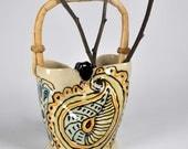 Ceramic Pottery Vase, Flower Vase, Purse Vase, Mother's Day Gift