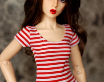 SD Clothes Red And White Striped Top For BJD Delf Feeple60 - Last One