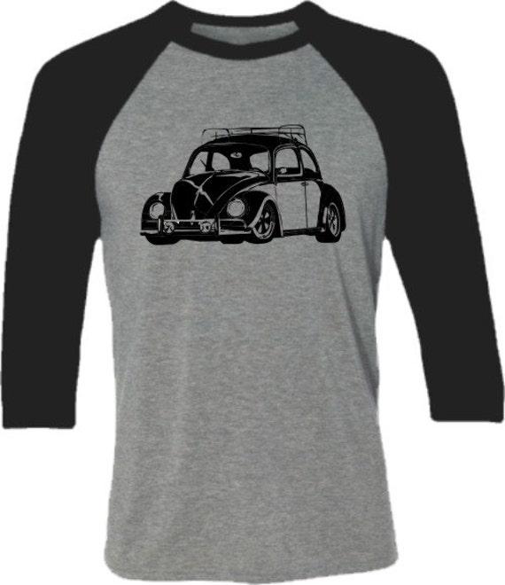 retro car shirt vw bug classic beetle car baseball by spokenwheelz. Black Bedroom Furniture Sets. Home Design Ideas