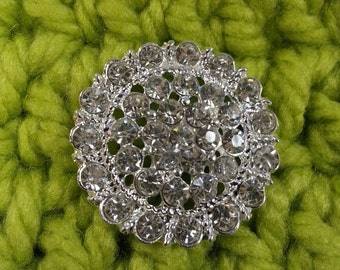 Set of 6 Fancy 30mm Rhinestone Buttons with shank
