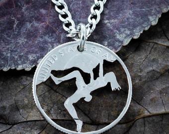 Girl Rock Climber Necklace, Hand Cut Coin