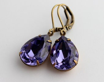 Swarovski Tanzanite earrings, Swarovski earrings, purple earring, Tanzanite earring, Purple earrings, bridesmaid earrings, wedding  TP07