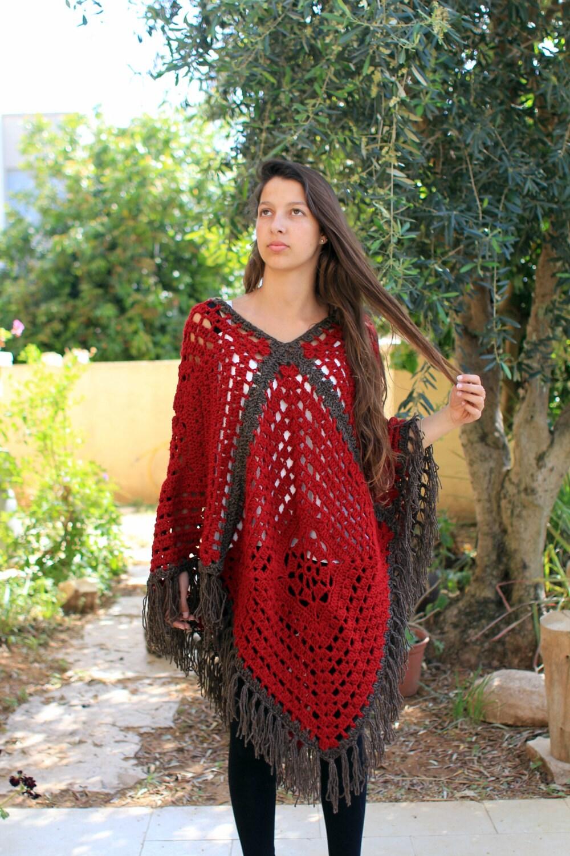 Free Vintage Crochet Cape Patterns : Vintage Granny Square Poncho Crochet poncho pattern by ...