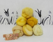 Wooly Buns roving, fiber sampler, assortment, needle felting supplies in Sunshine, 1.5 oz, hand dyed yellow wool roving collection