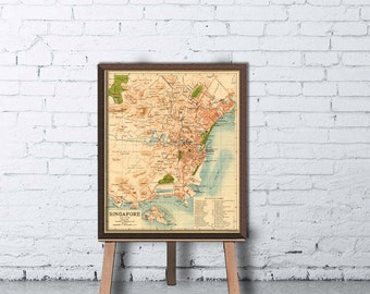Singapore map - Old map of Singapore  fine reproduction - Archival map print - Old map restored
