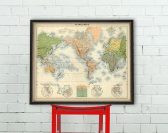 World map - Old map of the world  - Vintage map restored archival reproduction