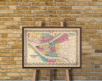 Map of Pittsburgh - Old map  fine print - Old map restored - Pittsburgh map  reproduction