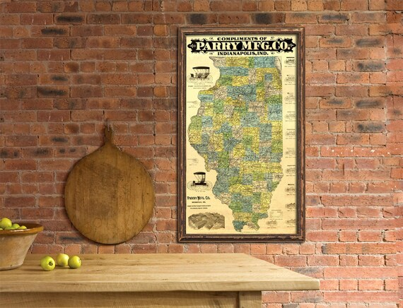 Illinois  map - Old  map of Illinois   with automobile advertisement  - Old advertise - Fine print