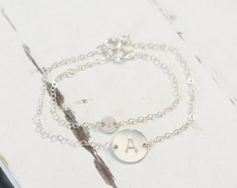 Matching Mother Daughter Initial Disc Bracelet Set - Personalized Child Adult Jewelry