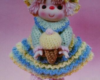 "Instant Download PDF Vintage Eighties 14"" Sherbet Ice Doll Crochet Pattern"