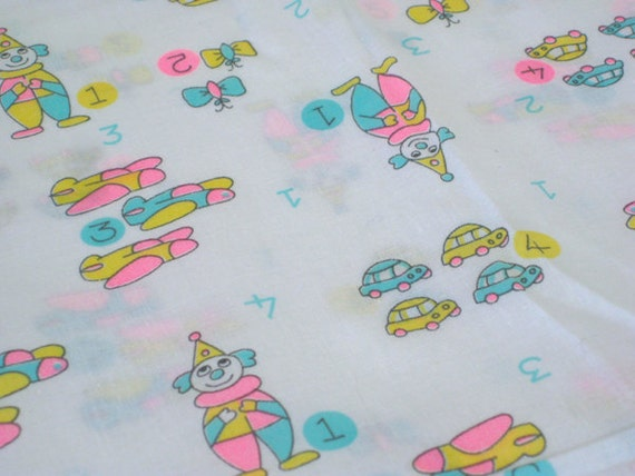 Vintage fabric neon nursery toys numbers by the yard x for Retro nursery fabric