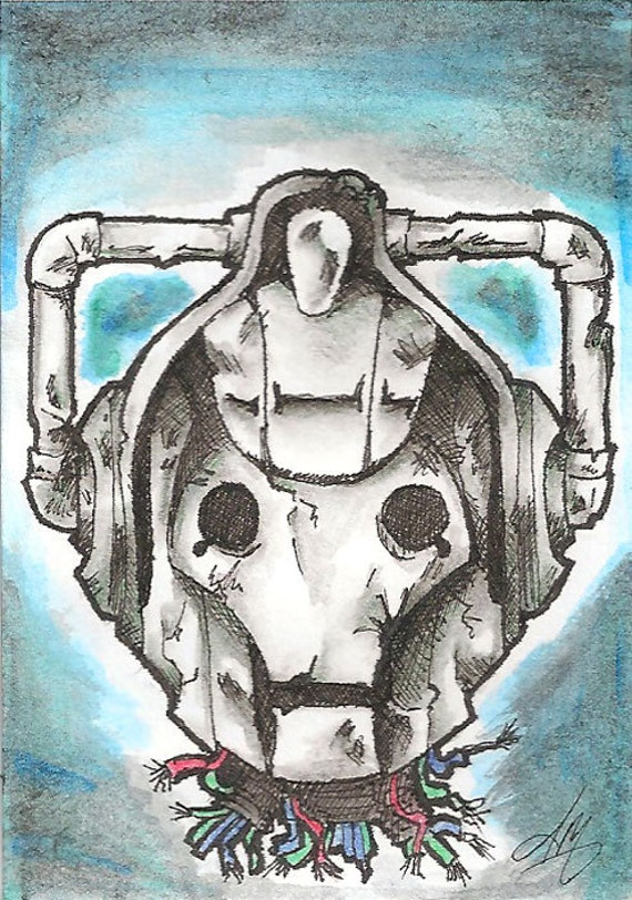 Imperfected Upgrade, Dr Who Original Watercolor & India Fan Art on Bristol Artist Trading Card on