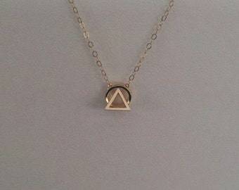 Sun rise on the mountain, 14kt goldfill necklace, minimalist, trendy every day jewelry