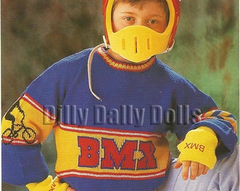 BMX motif Sweater knitted in 4 ply yarn to fit 28 to 36 inch chest