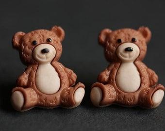 Teddybear Earrings. Cuddles the Bear Button Earrings. Teddy Bear Earrings. Stud Earrings. Brown Earrings. Post Earrings. Handmade Jewelry.