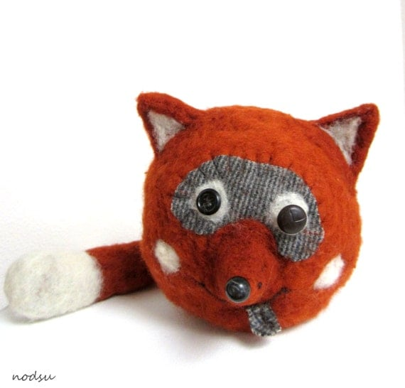 Felted Fox Home Decor Soft Sculpture Red Fox Needle