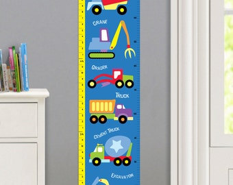 Kids Personalized Under Construction Wall Decal Growth Chart, Boys Construction Wall Art, Boys Bedroom Decor, Peel and Stick Growth Chart