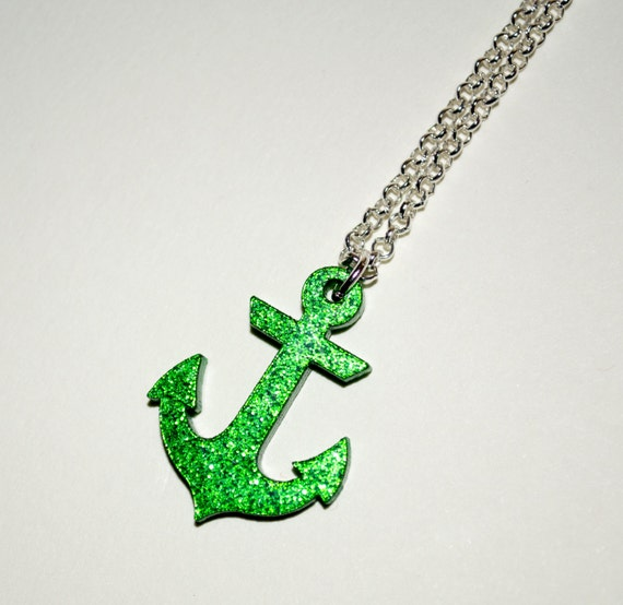 Nautical Jewelry, Anchor Necklace, Green Glitter Anchor, Rockabilly Necklace, Anchor Pendant, Glitter Necklace, Green Anchor, Green Jewelry
