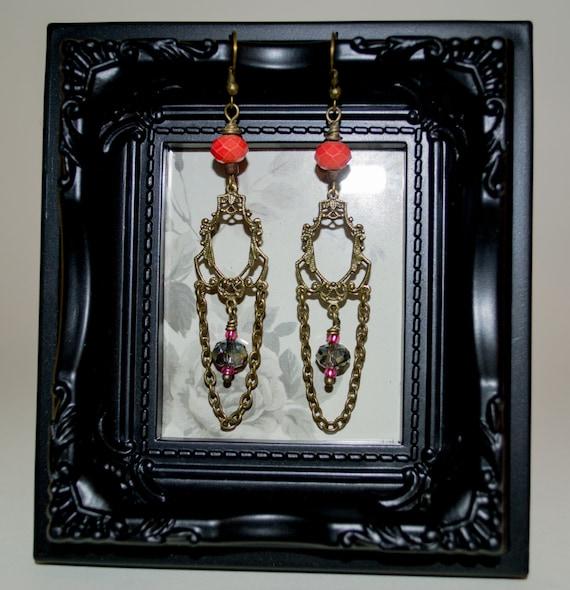Long Boho Earrings, Dangle Earrings, Bohemian Jewelry, Chandelier Earrings, Chain Earrings, Drop Earrings, Crystal Earrings, Coral Earrings