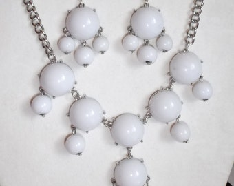 SALE Beautiful White and Silver Bubble Necklace and Earrings Boho Gypsy  High Fashion, Modern, Great Gift Great for the Winter Months