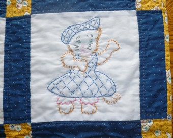 Embroidered Kitty Quilt- Navy and Yellow