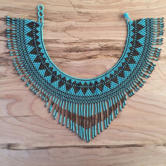 Collar de barbas GUERRERA / Collar de Chaquiras / Cuello / Collarín / Joyería Tribal /