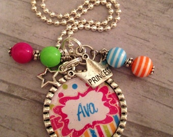 PERSONALIZED Necklace, Bezel Pendant Charm, Little Girls Jewelry, Holiday Gift, Custom Made, BottleCap, Princess, Birthday Party, Daughter