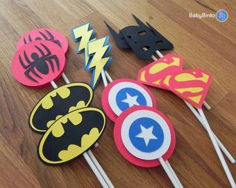 Die Cut Super Hero Logo Cupcake Toppers - superhero batman captain america spiderman superman comic birthday party decorations wedding