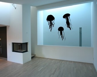 Jellyfish Wall Decals | Jellyfish Silhouettes Set of Three Vinyl Wall Decals | Beach Wall Decal | Beach Decor 22513