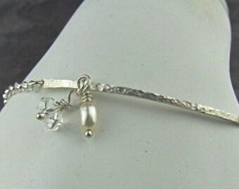 Sterling Silver Herkimer Diamond Pearl Hammered Bar Chain Bracelet