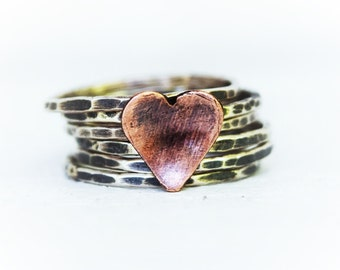 Sterling Silver Stacking Rings - Stackers - Silver Stack -  Hammered Stacking Rings - Copper Heart Ring  - Set of 6 Rings
