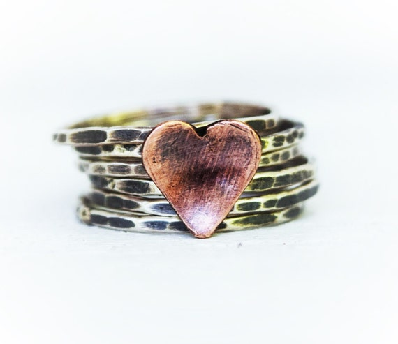 Sterling Silver Stacking Rings - Hammered Stacking Rings - Copper Heart Ring  - Mothers Day -   Set of 6 Rings