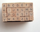 alphabet rubber stamp set. uppercase letter stamp. wood mounted stamp. scrapbooking. card making. gift wrapping. small. no3