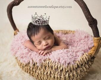 Baby Girl Tiara Baby Girl Crown Baby Tiara Baby Tiara Headband Newborn Headband Princess Crown Princess Photo Prop Rhinestone Crown Headband