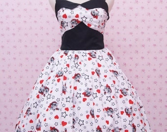 Black and White Retro Party Dress - Pretty Girl Print Halterneck Rockabilly - 50's Retro Style Dress - Vintage Style Dress - Simple Dress