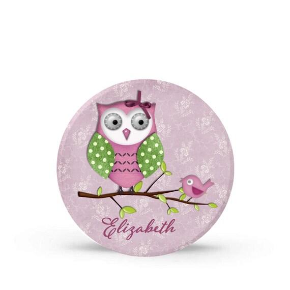 Purple Owl and Baby Bird Melamine Plate for Girls