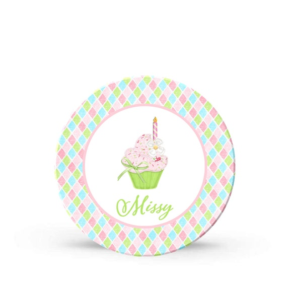 Personalized Cupcake First Birthday Party Melamine Plate for Girls