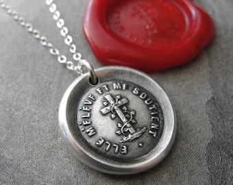 Wax Seal Necklace Faith Cross - antique wax seal charm jewelry French motto It Uplifts And Supports Me by RQP Studio