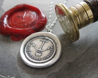Anchor Wax Seal Necklace Hope Supports antique seal charm jewelry French motto Anchor Hearts Serpent Forever by RQP Studio