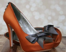Burt Orange Wedding Shoes -- Copper Platform Peep Toe Custom Wedding Shoes with Charcoal Gray Bow and Buttons